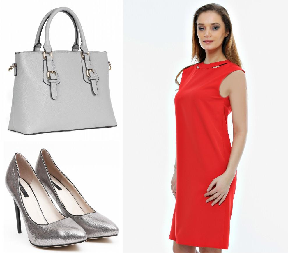 La rochiile roșii adaugă accesorii gri! - FashionUP
