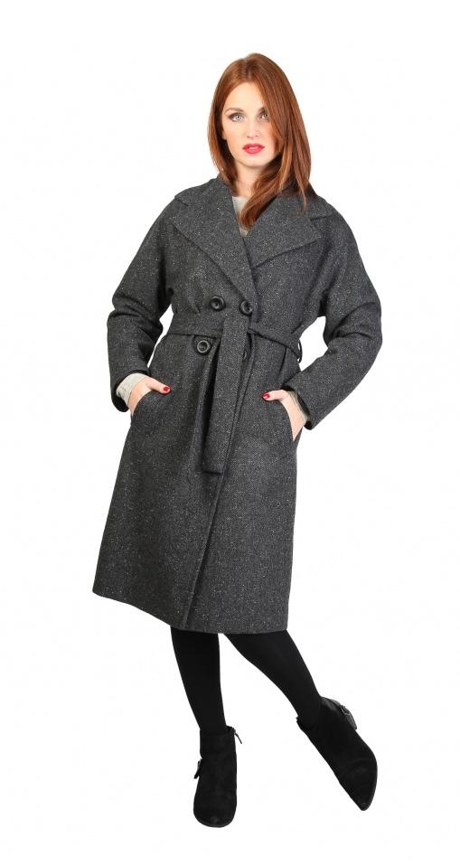 Palton Fontana 2.0 gri din lana, cu nasturi si cordon tipe inalte FashionUP