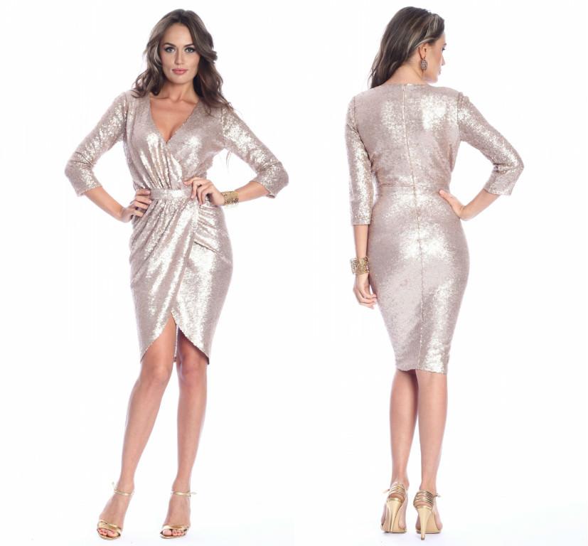 Rochie cu paiete aurii ROSERRY - FashionUP!