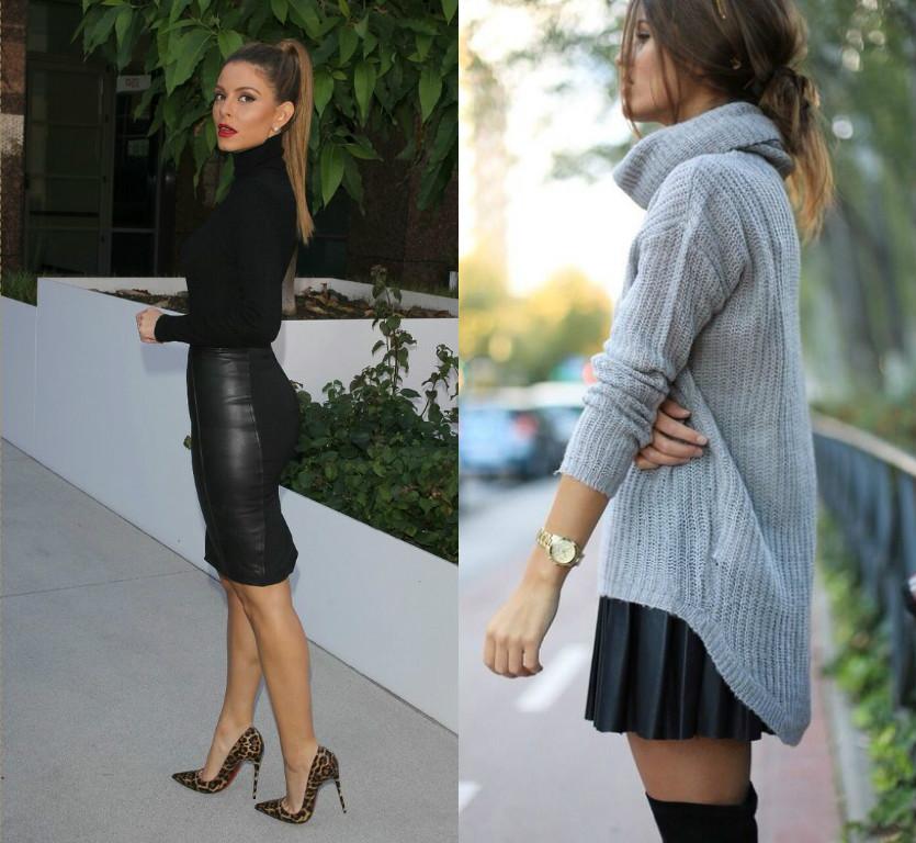 pulover pe gat fusta scurta piele