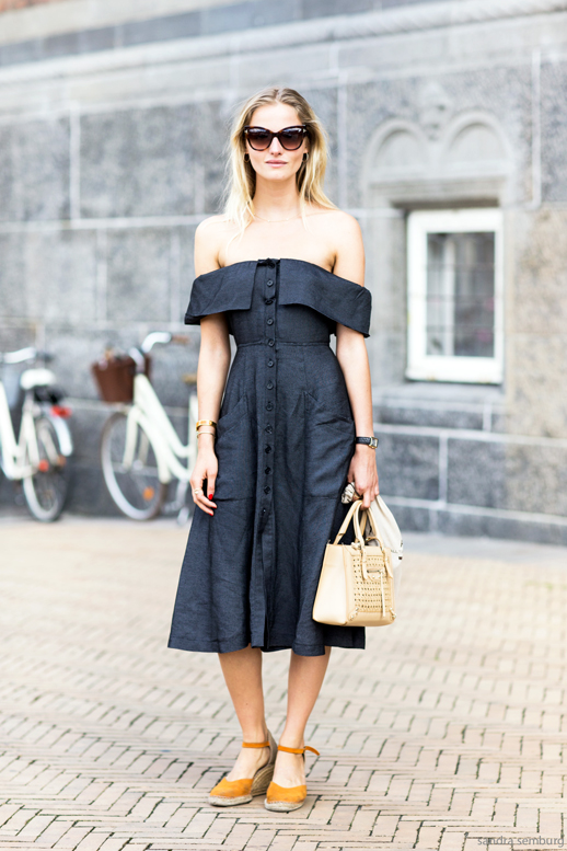 Le-Fashion-Blog-Street-Style-Retro-Inspired-Romantic-Summer-Look-Cat-Eye-Sunglasses-Off-The-Shoulder-Dress-Small-Nude-Bag-Orange-Espadrille-Wedge-Sandals-Via-Sandra-Semburg